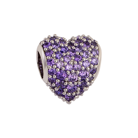 Purple Pavé Heart Charm