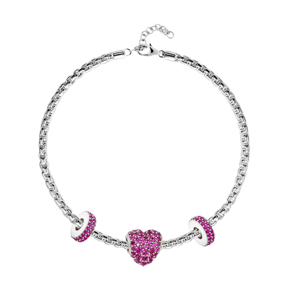 Red Pave Heart Charm Bracelet - Buy Charm Bracelet Online in India