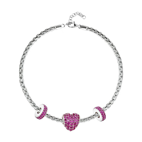 "Charm Bracelet Online | Red Pavé Heart Charm Bracelet | ""9 to 9"" Office Wear 