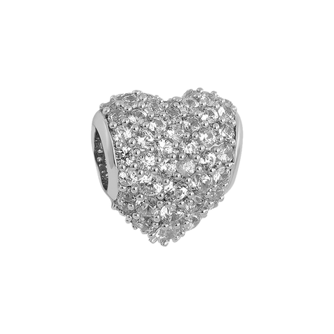 Clear Pavé Heart Charm,buy charms online in india,silver charms online,talisman world charms online