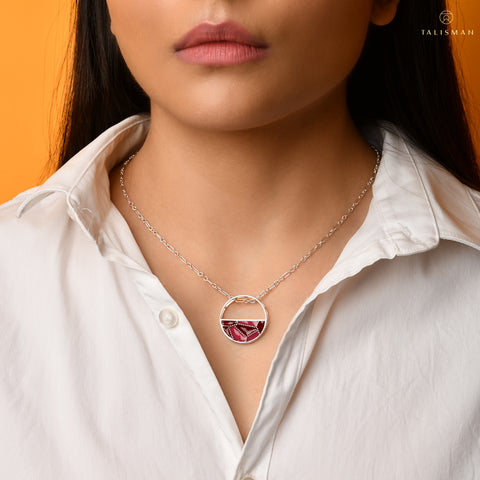 Buy Pendants | Shades of red Sterling Silver Pendant | Ombre' | TALISMAN