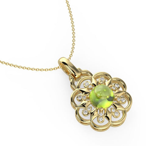 Luminious Green Floret Necklace