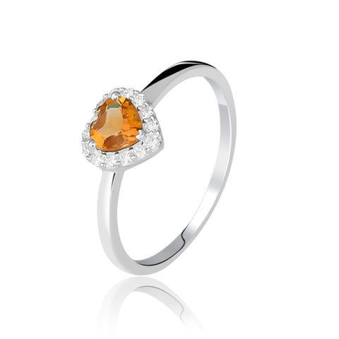 Heart-Shaped Citrine Ring
