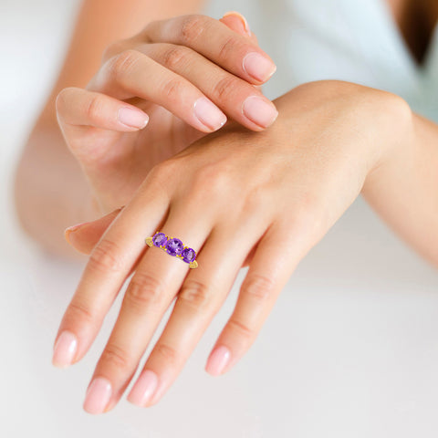 "Buy Gemstone Ring Online | Amethyst Trio Gemstone Ring | ""9 to 9"" Office Wear 
