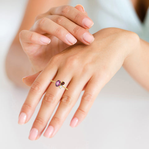 Red bouquet Cocktail Ring