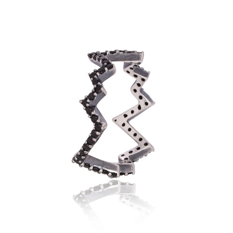 Thunderbolt Black Pave' Ring