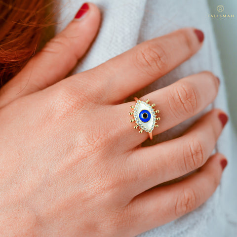 Positive vibes Evil Eye Adjustable Ring