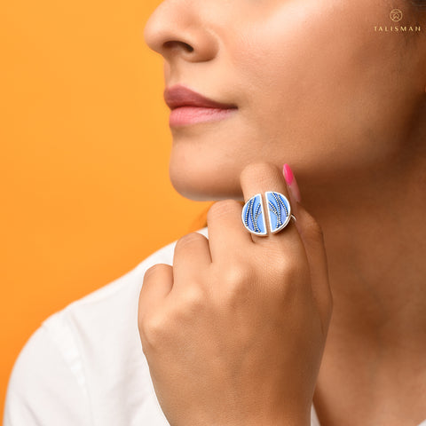 Buy Rings Online | Shades that make waves Sterling Silver Ring | Ombre' | TALISMAN
