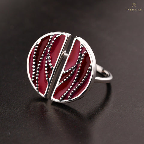 Ring Online | Shades of red Sterling Silver Ring | Ombre' | TALISMAN