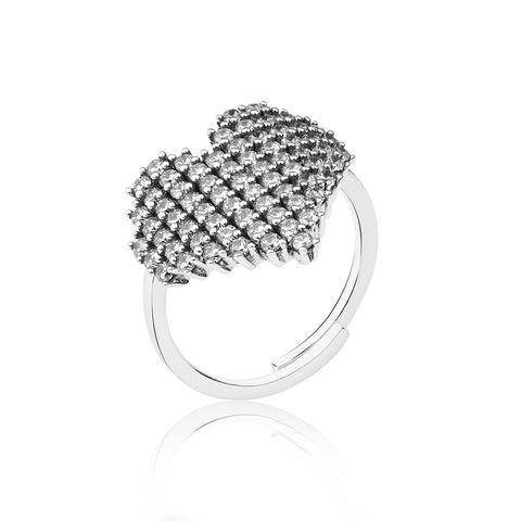 Sparkling Heart Ring - White