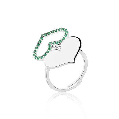 Silver Rings Online | Feather Heart Ring - Green | Amore' - Love | TALISMAN