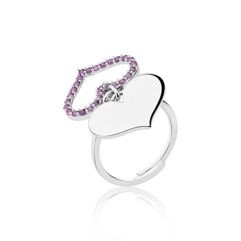 Feather Heart Ring - Purple
