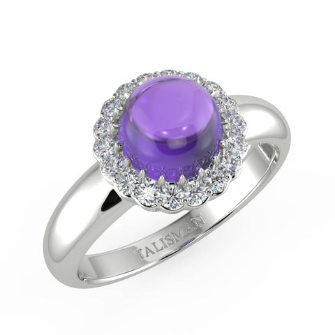 Rings Online | Sparkling Amethyst Halo Ring | Rings | TALISMAN