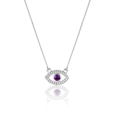 Style Me Evil Eye Amethyst Necklace