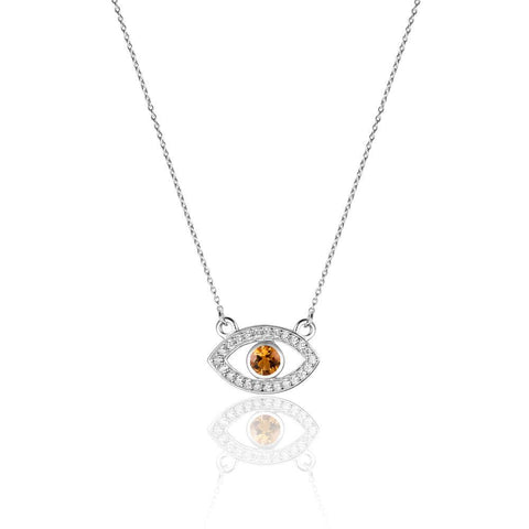 Fiery Evil Eye Citrine Necklace