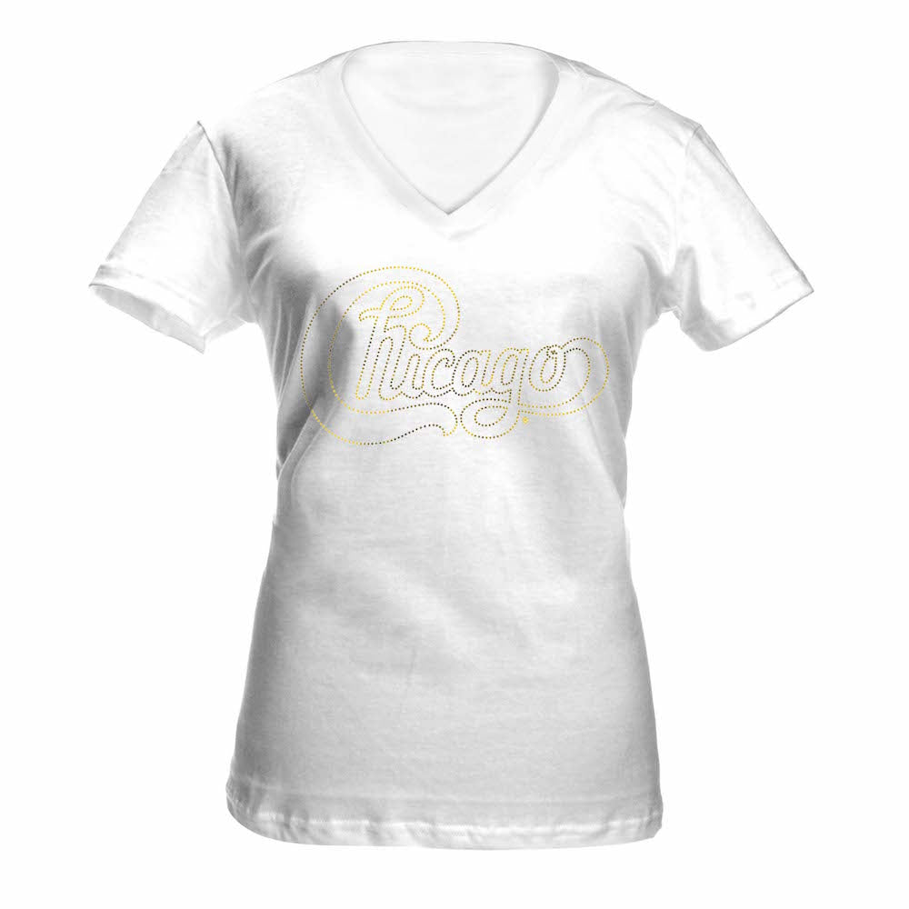 Women's Gold Foil V-Neck Tee