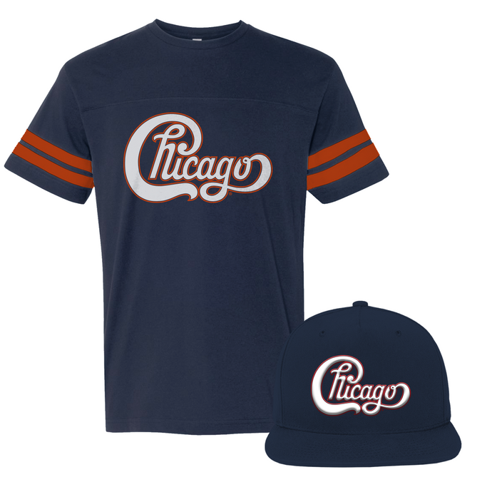 Chicago 52 Football Tee + Navy Tour 2019 Hat Bundle