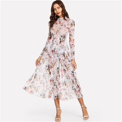 Mock Neck Semi Sheer Midi Floral Dress - Kaya chic