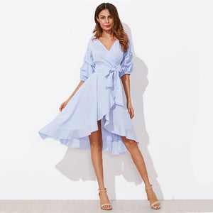 Gathered Sleeve Twist Pinstripe Dress - Kaya chic