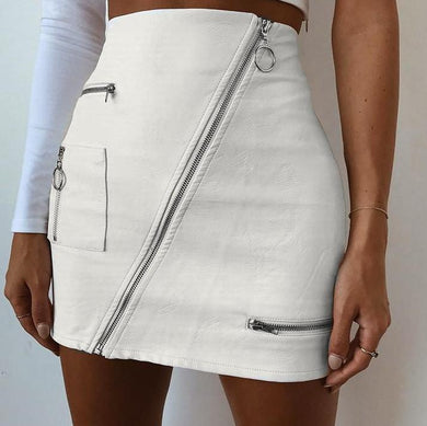 Leather Zip Up Mini Skirt - Kaya chic