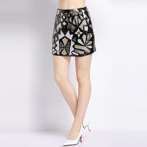 Retro Chic Sequin Colorblock Skirt - Kaya chic