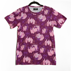 White Bat Patterned T Shirt