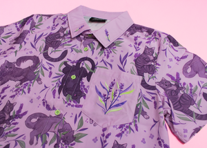 Stinky Kitties Embroidered Button Down Shirt