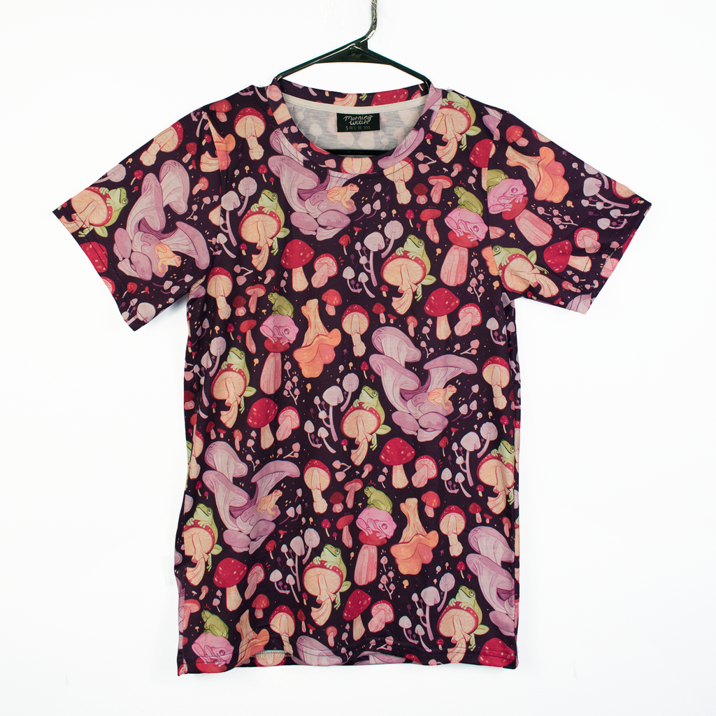 Secret Garden: Mushroom & Frog Patterned T Shirt
