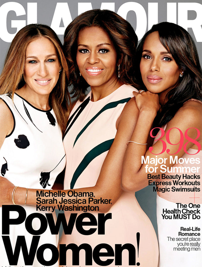 KERRY WASHINGTON WEARS THE DOUBLE CUBO CRYSTAL PEARL EARRINGS ON THE COVER OF GLAMOUR'S MAY ISSUE