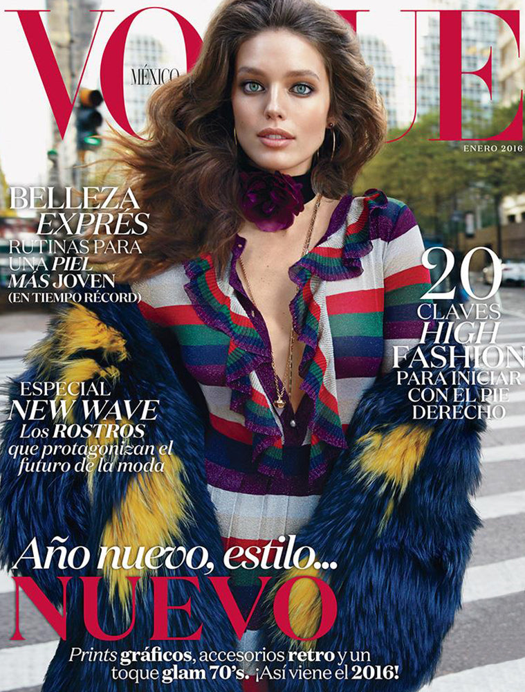 SUPERMODEL EMILY DIDONATO WEARS THE PEARL STUD HOOP EARRING AND ROSE QUARTZ CRYSTAL NECKLACE ON THE COVER OF VOGUE MEXICO'S JANUARY ISSUE