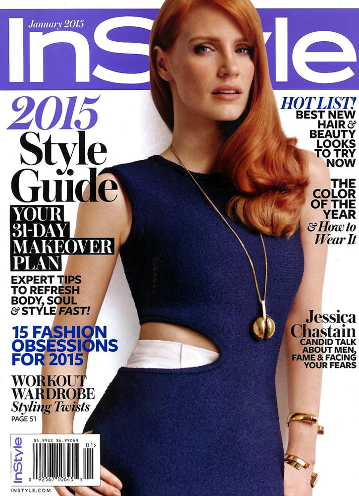JESSICA CHASTAIN WEARS THE MINI OMEGA BRACELET ON THE COVER OF INSTYLE'S JANUARY ISSUE