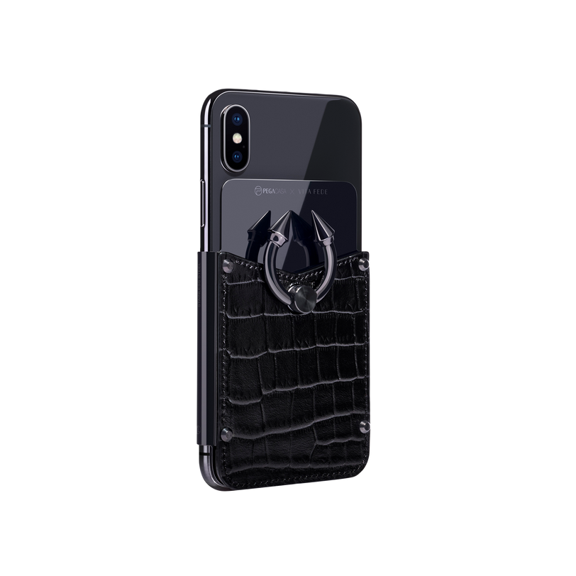 Titan Ring iPhone Case - Black Croco