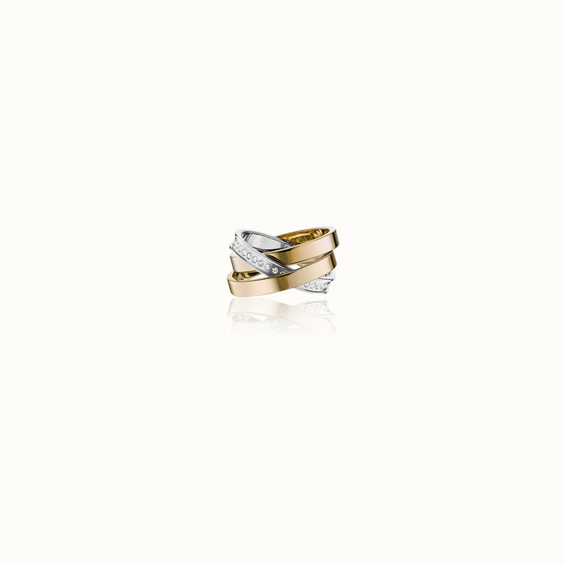 Cassio Pave Ring Two Tone