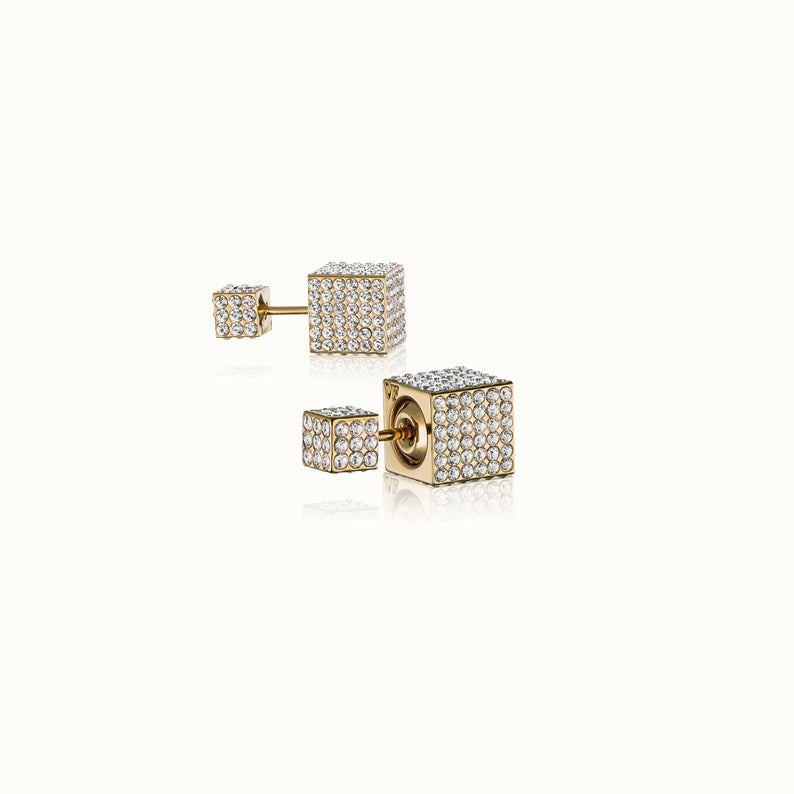 Double Cubo Crystal Earrings
