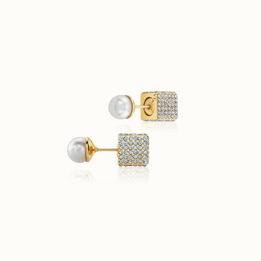 Double Cubo Pearl Earrings
