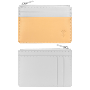 Beige & Platinum Grey leather card holder with zip