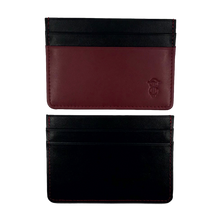 Load image into Gallery viewer, Burgundy & Black leather card holder