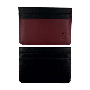 Burgundy & Black leather card holder