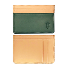 Load image into Gallery viewer, Green & Ochre leather card holder