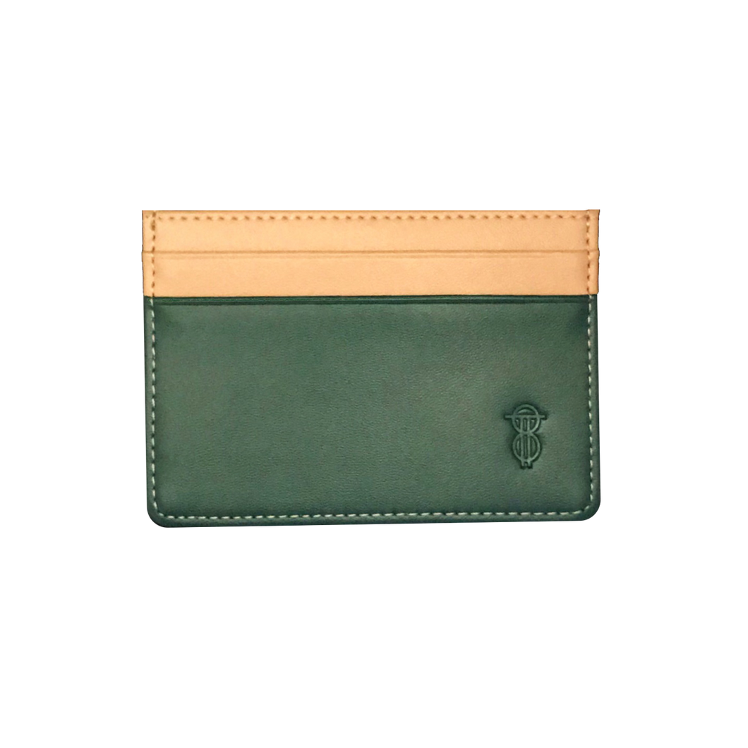 Green & Ochre leather card holder