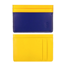 Load image into Gallery viewer, Inky Blue & Yellow leather card holder