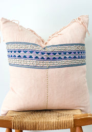 Hand Woven Hemp Pillow, Light Pink with Tassels