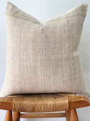 Hand Woven Hemp Pillow, Cream with Stripe