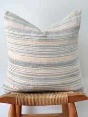 Hand Woven Hemp Pillow, Blue Stripes