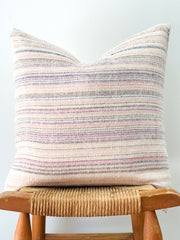 Hand Woven Hemp Pillow, Pink Stripes