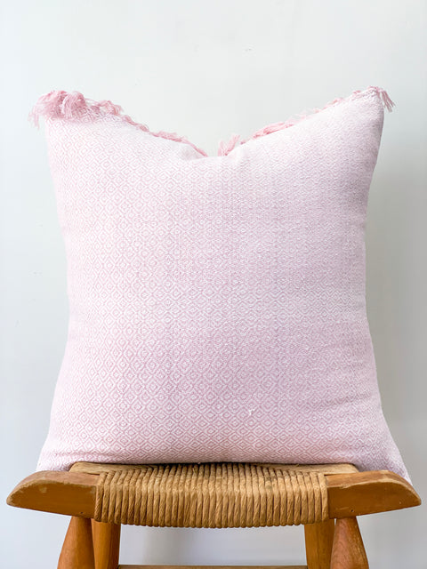 Hand Woven Hemp Pillow, Light Pink