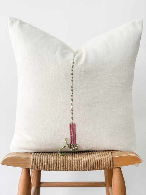 Hand Woven Hemp Pillow, Cream with Braided Green Detail
