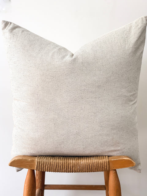 Hand Stitched Pillow, cream with black detail