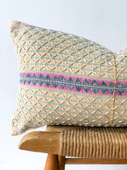 Hand Woven Hemp Lumbar Pillow, pale mustard with shell detail
