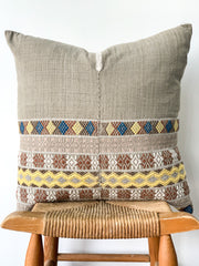 Hand Woven Hmong Pillow, Grey with Yellow